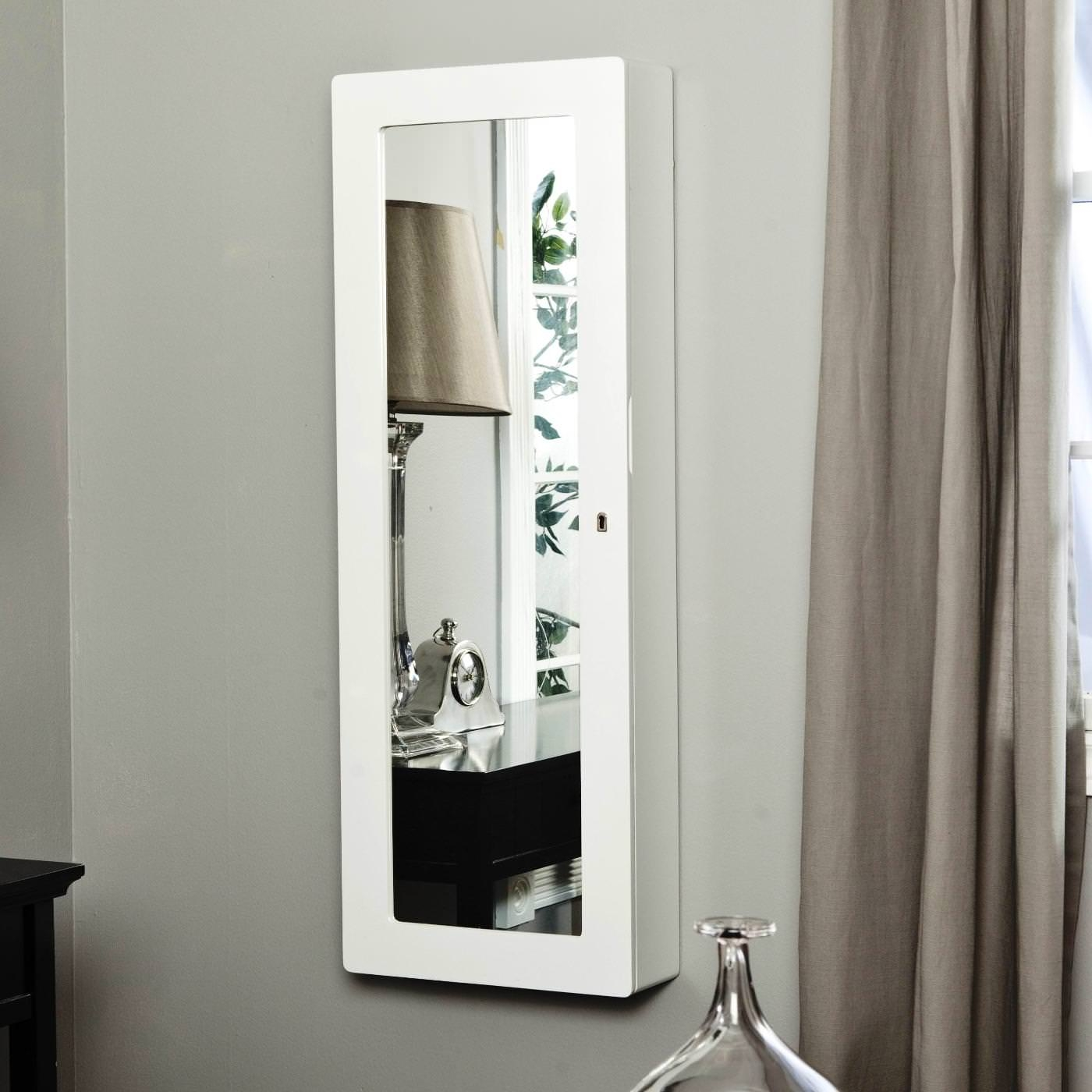 White Wall Mounted Mirror Jewelry Armoire