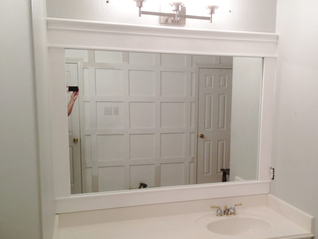 Permalink to White Wood Bathroom Mirror