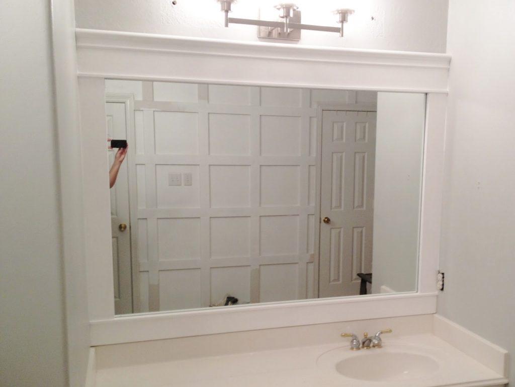 White Wood Bathroom Mirror