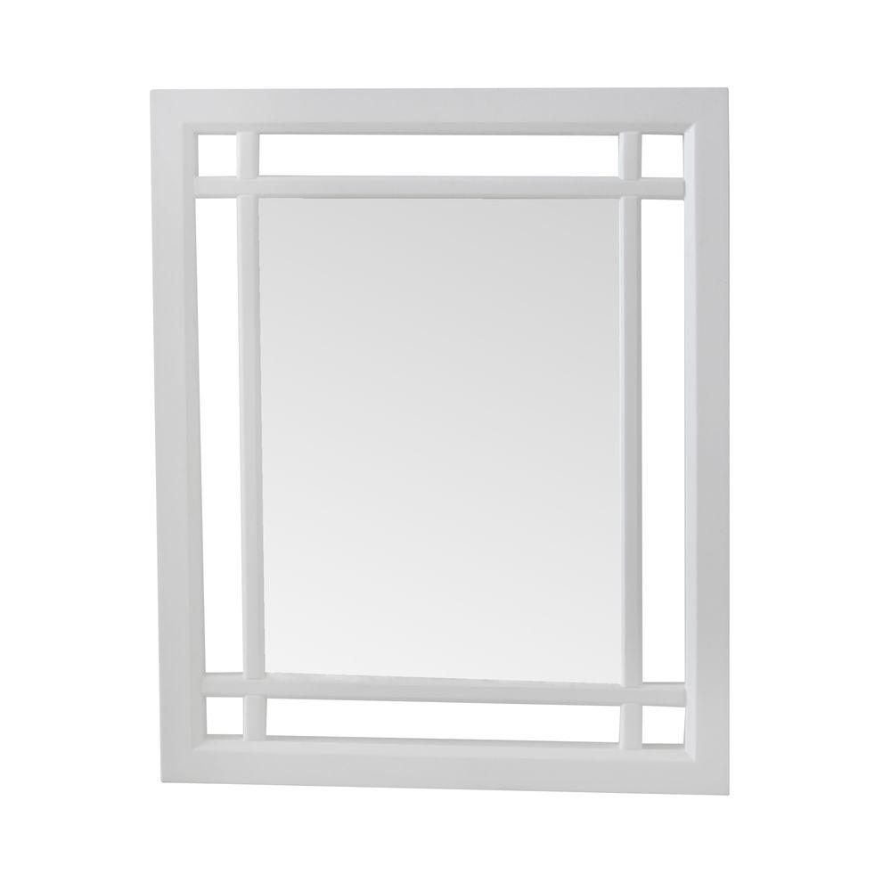 White Wood Frame Wall Mirror
