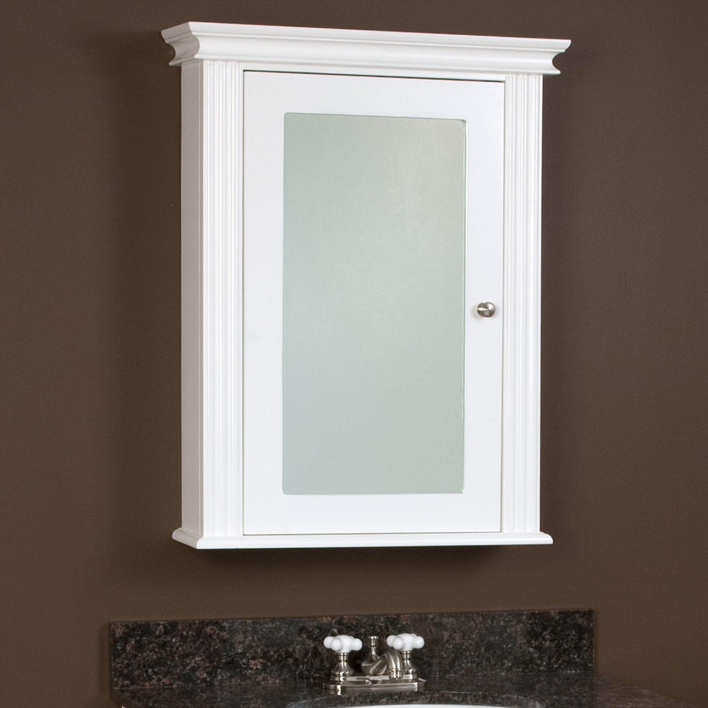 White Wood Mirror Bathroom Cabinet