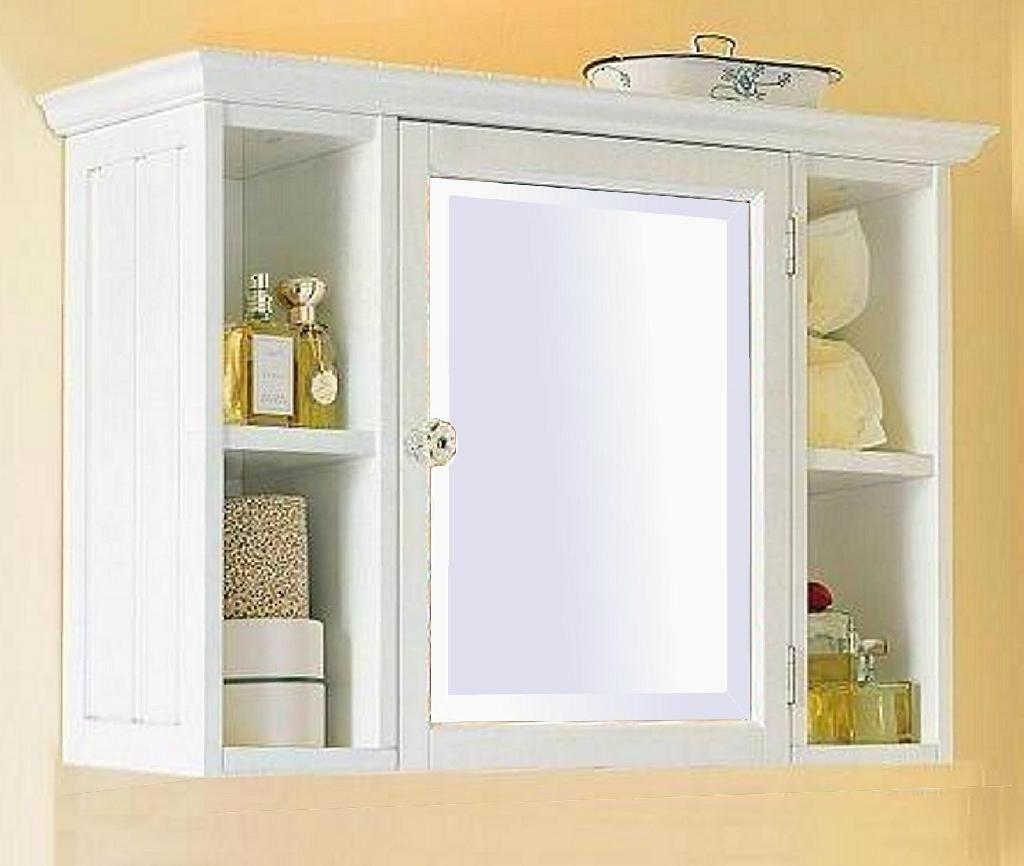 White Wooden Bathroom Mirror Cabinet