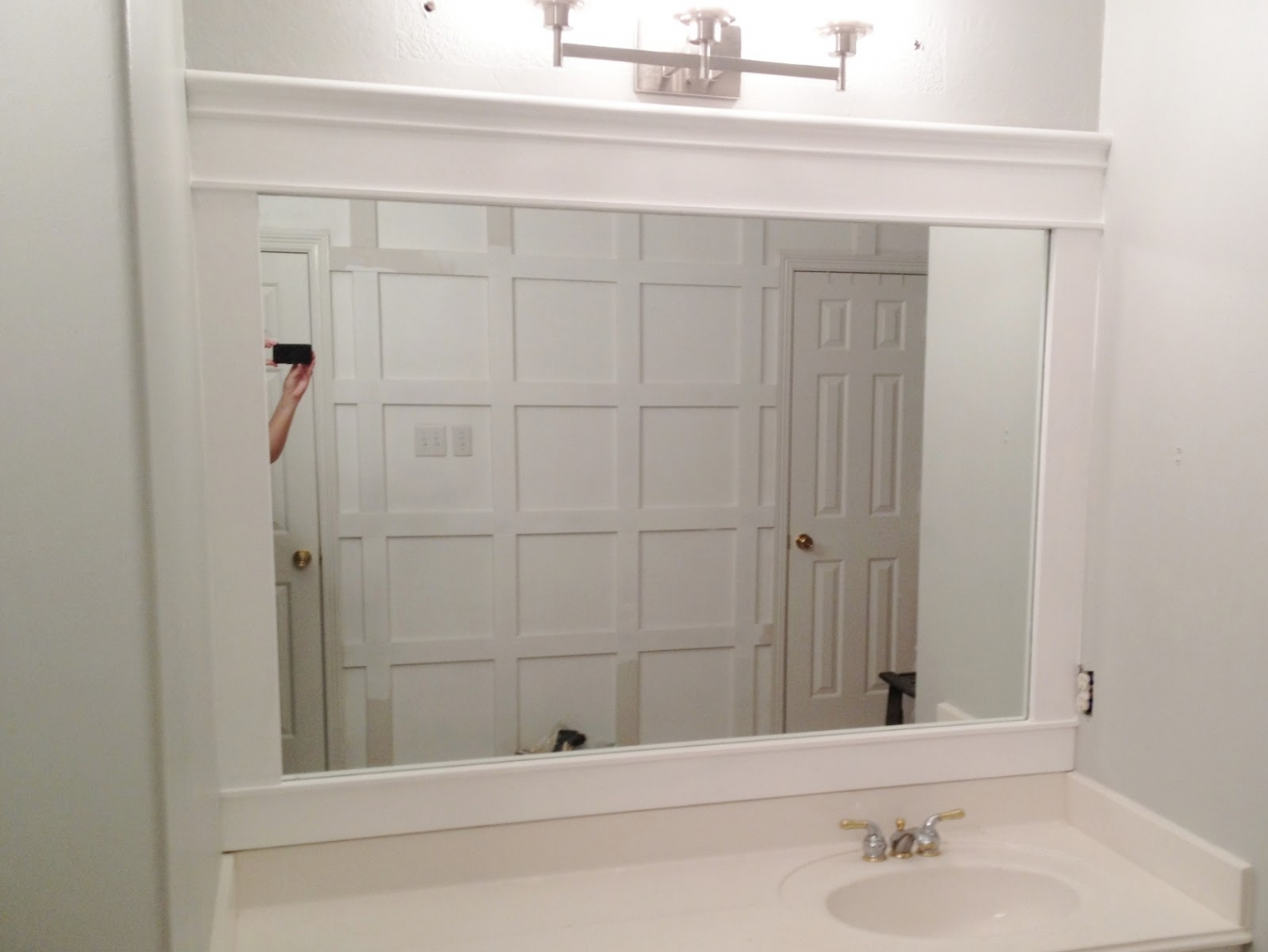 Permalink to White Wooden Bathroom Mirrors
