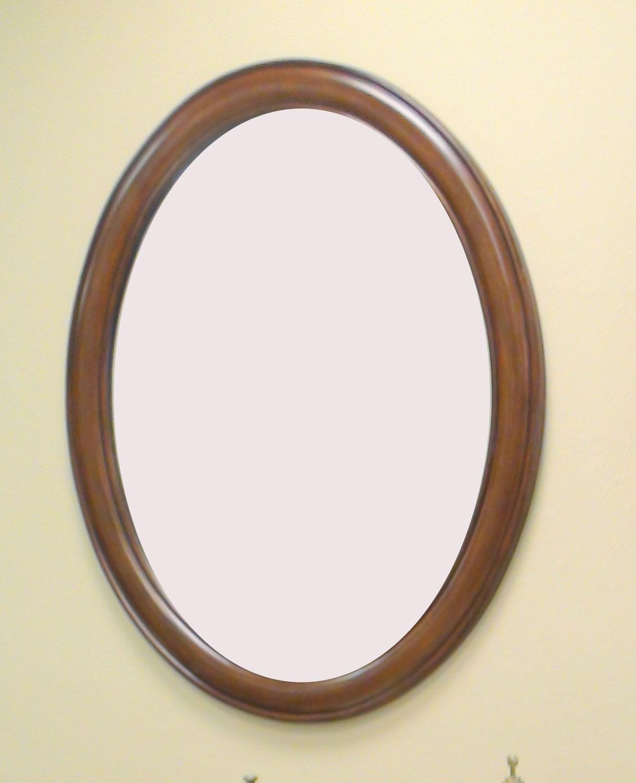 Wood Framed Oval Wall Mirror