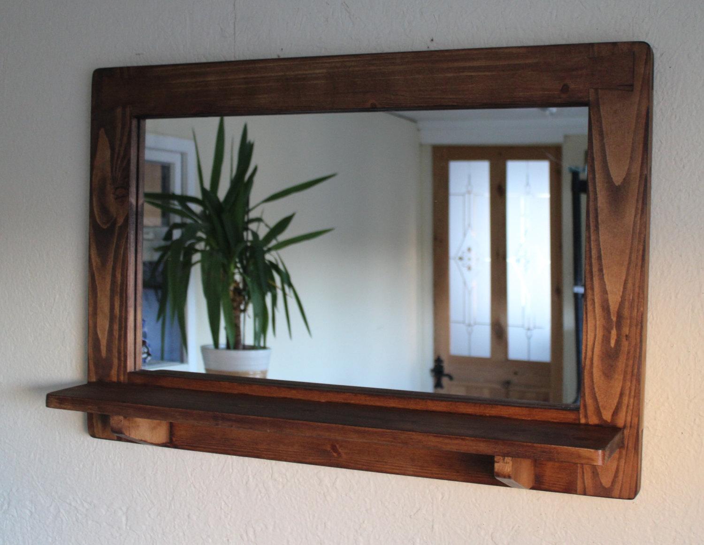 Wood Wall Mirror With Shelf