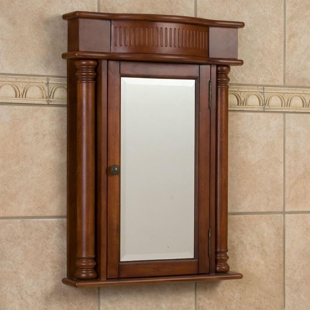 Wooden Bathroom Medicine Cabinet Mirror
