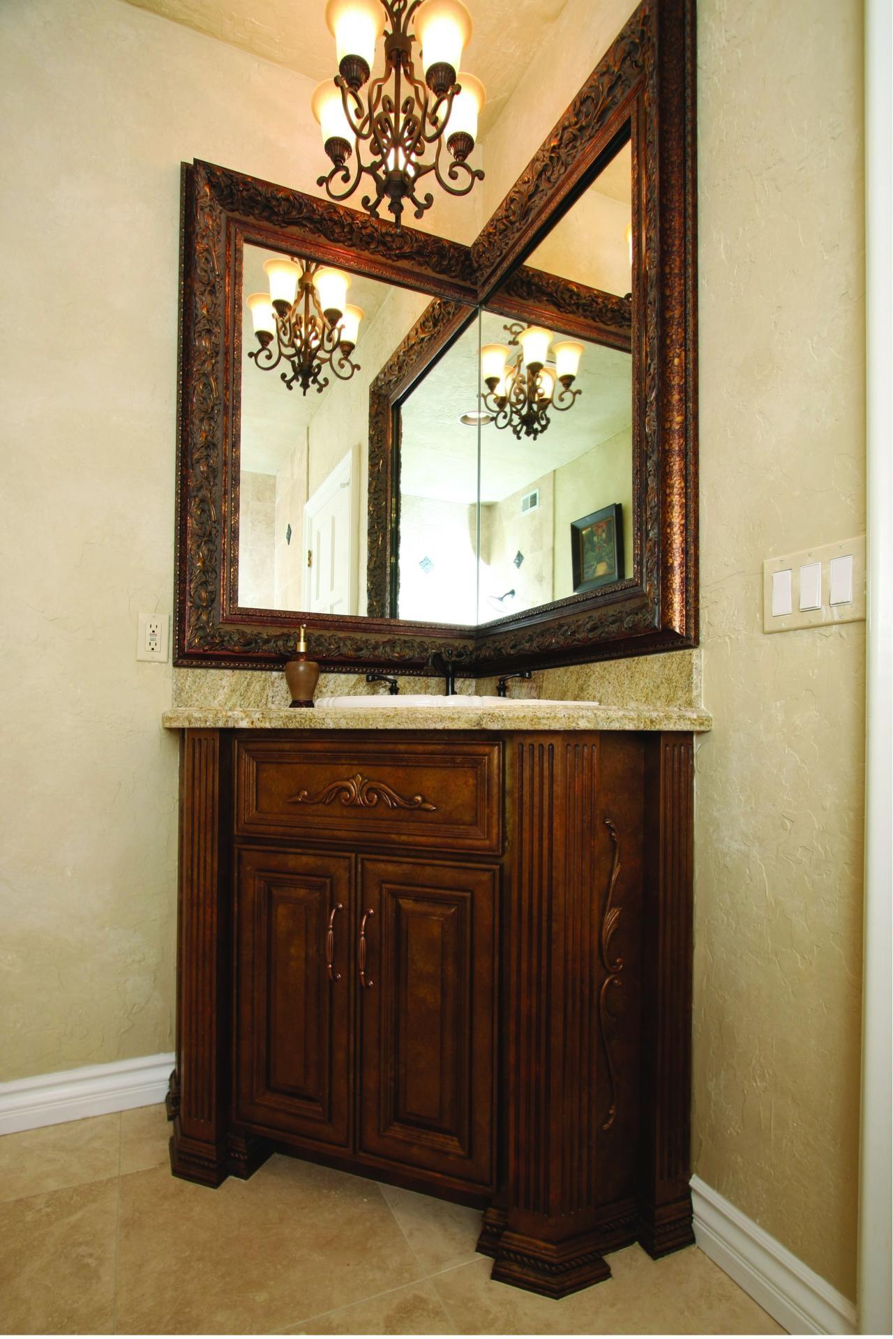 Wooden Mirrored Corner Bathroom Cabinet