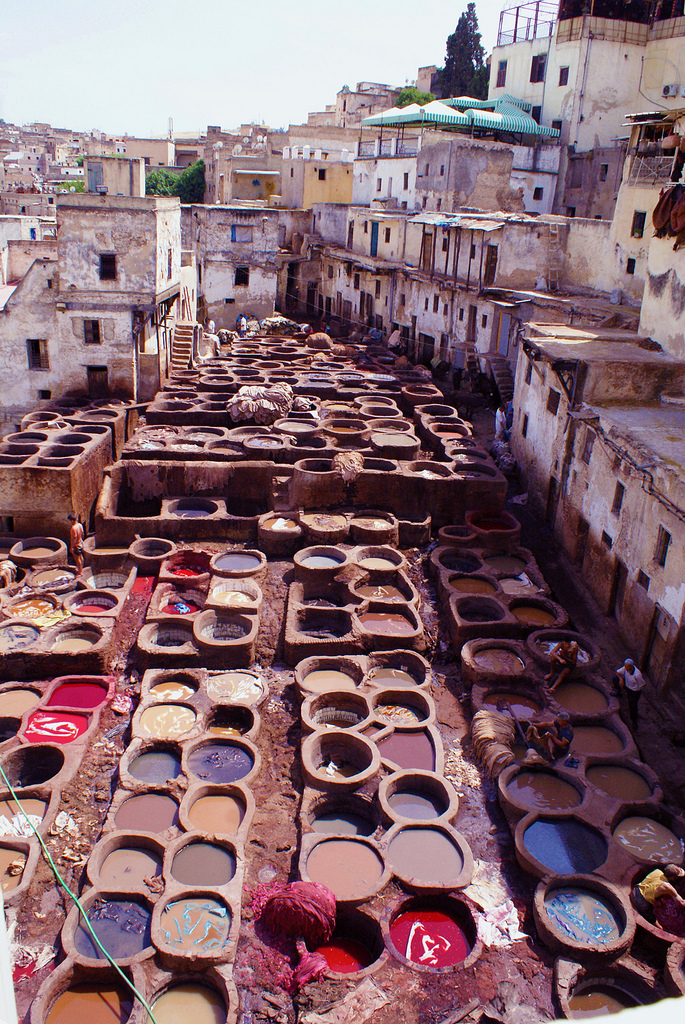 In Morocco, tanneries remain virtually unchanged since the middle-ages sit nestled into the medina.