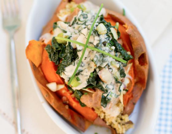 FIlling Vegetarian Fall Recipes Stuffed Sweet Potato