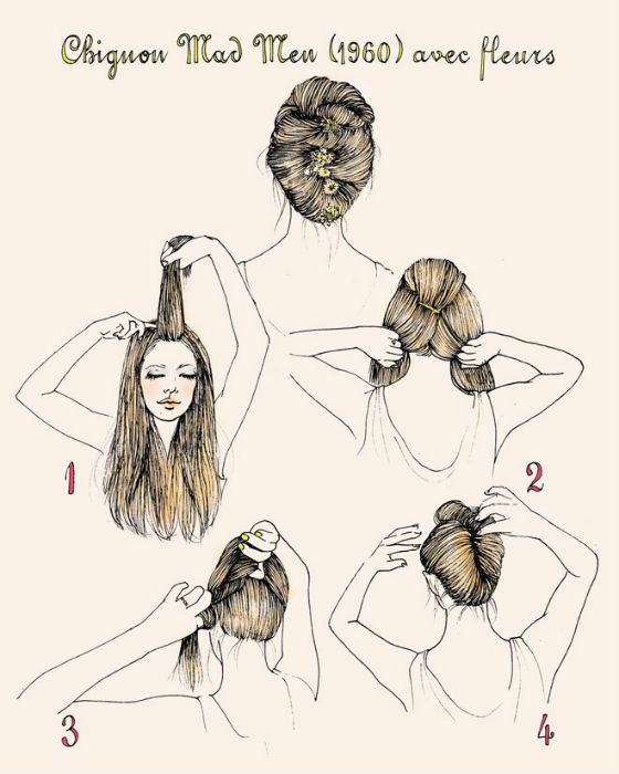 Flower Hair Updo Tutorial 1960s
