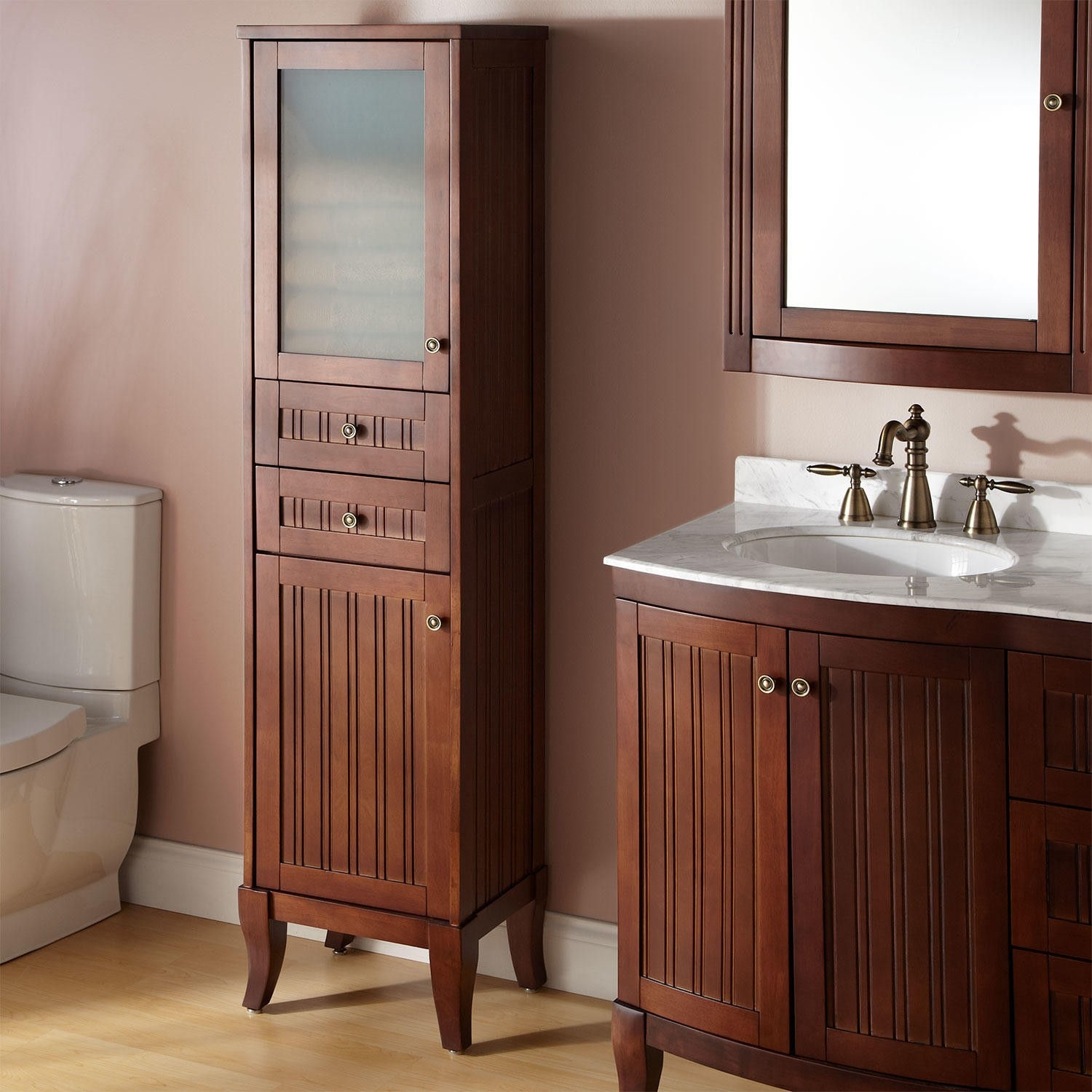 Cherry Bathroom Storage Cabinets