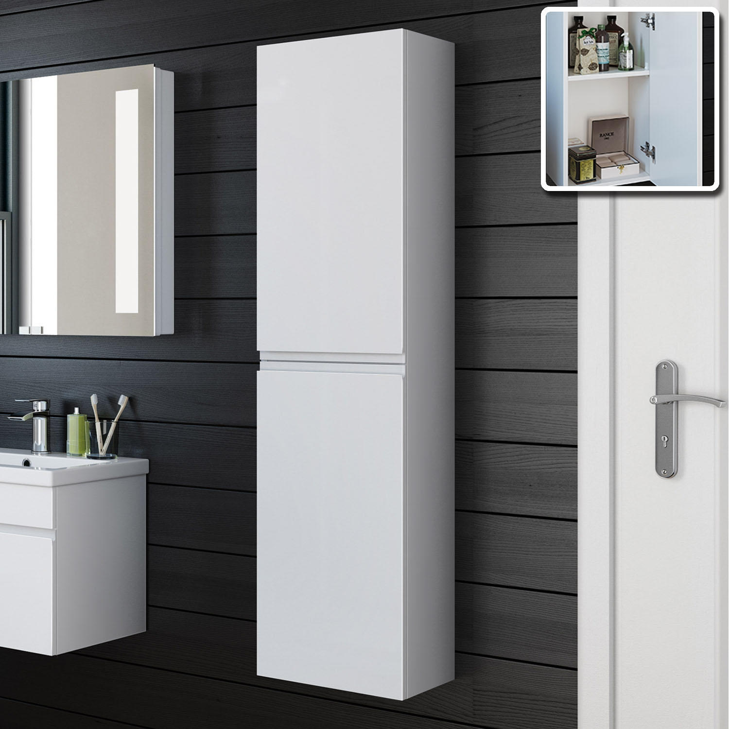 Permalink to Tall Slim Gloss Bathroom Cabinet
