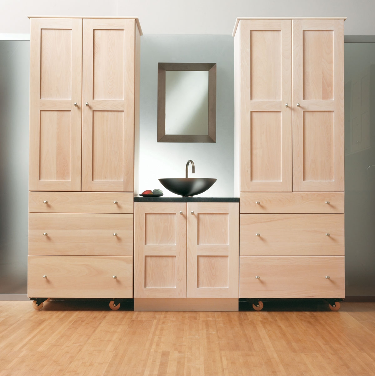 Unfinished Oak Bathroom Linen Cabinets