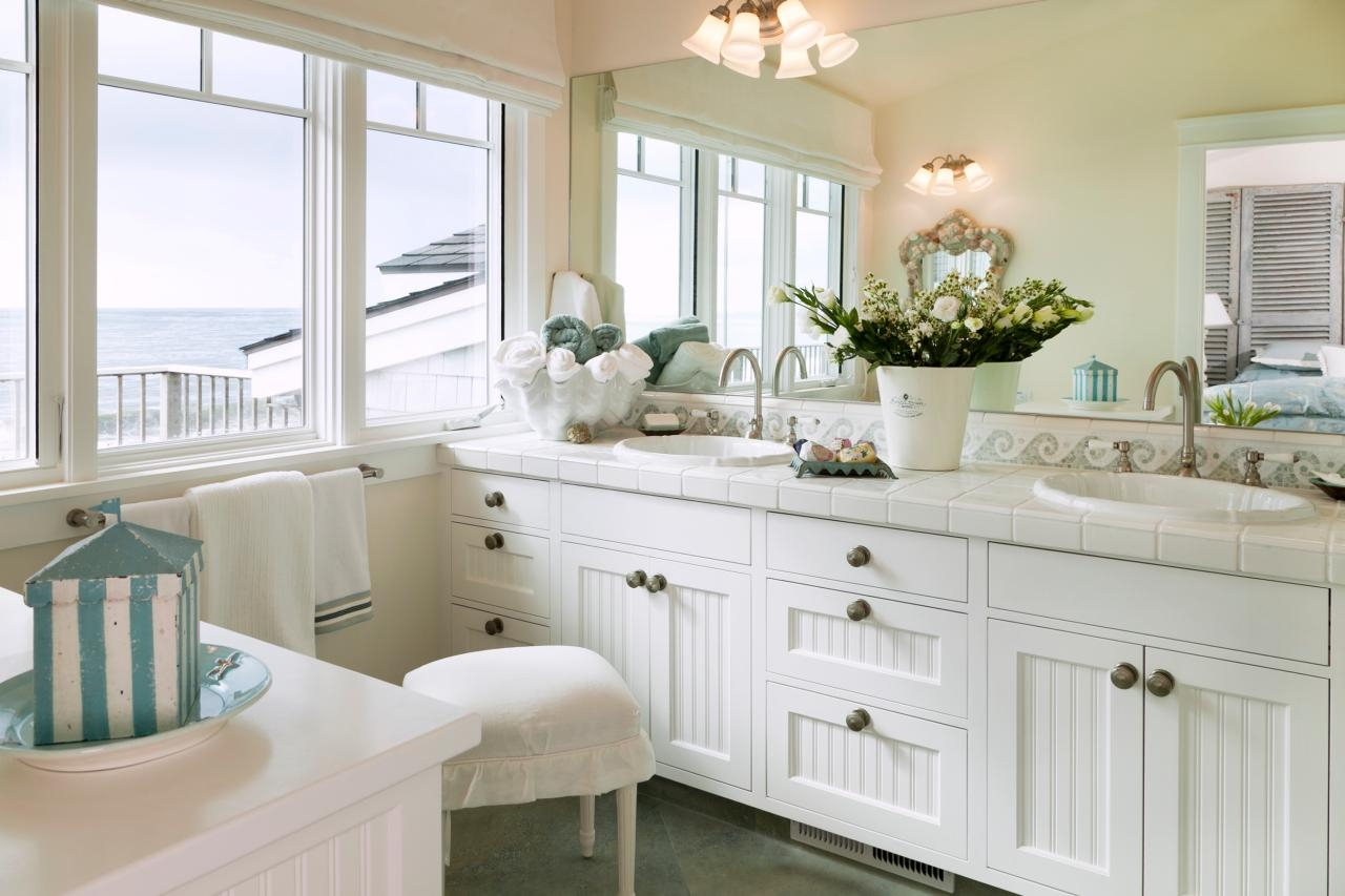 White Beadboard Cabinets Bathroom