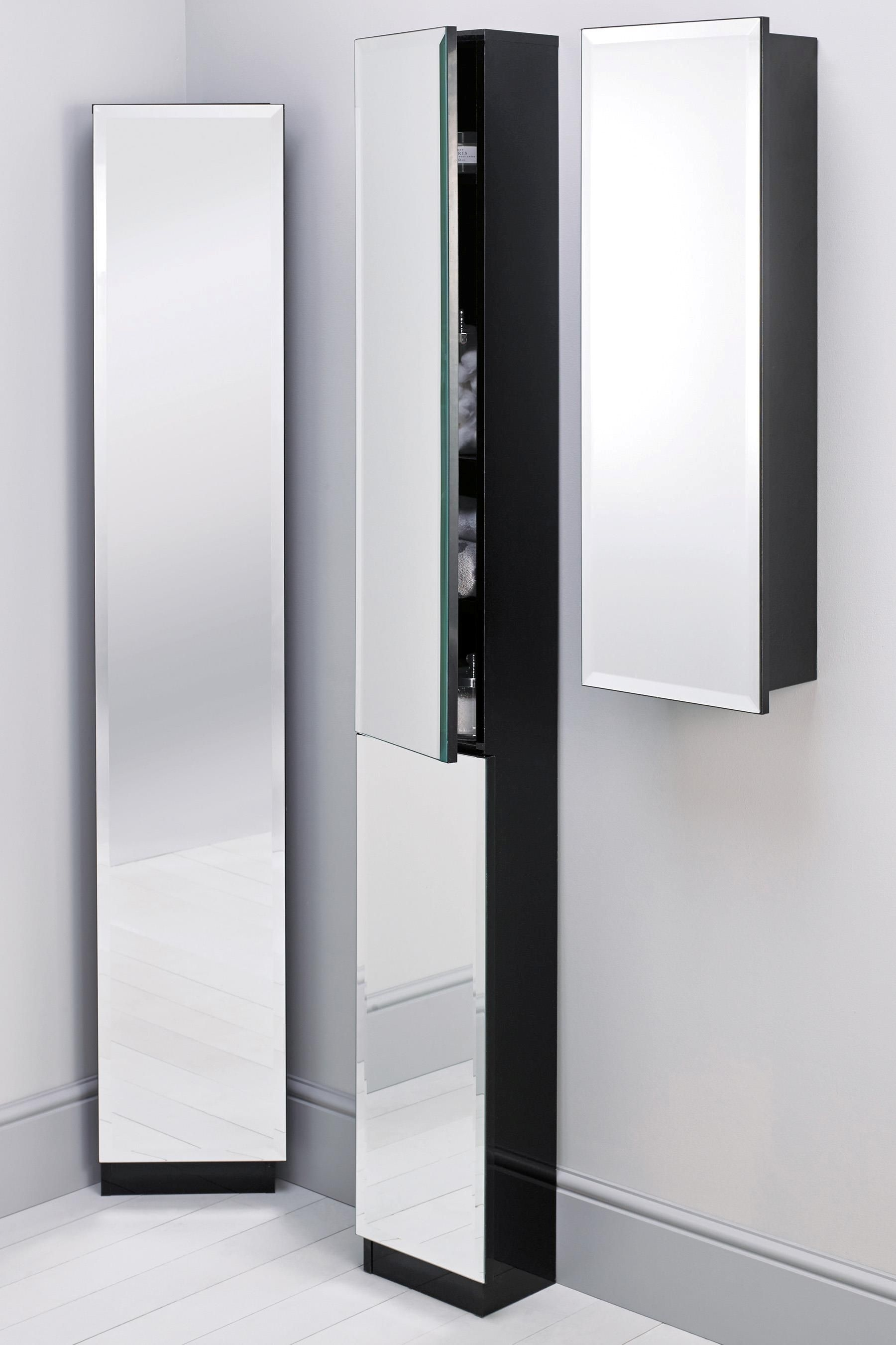 Bathroom Cabinet White With Satinised Glass Doors – Tall Cupboard – Storage Room