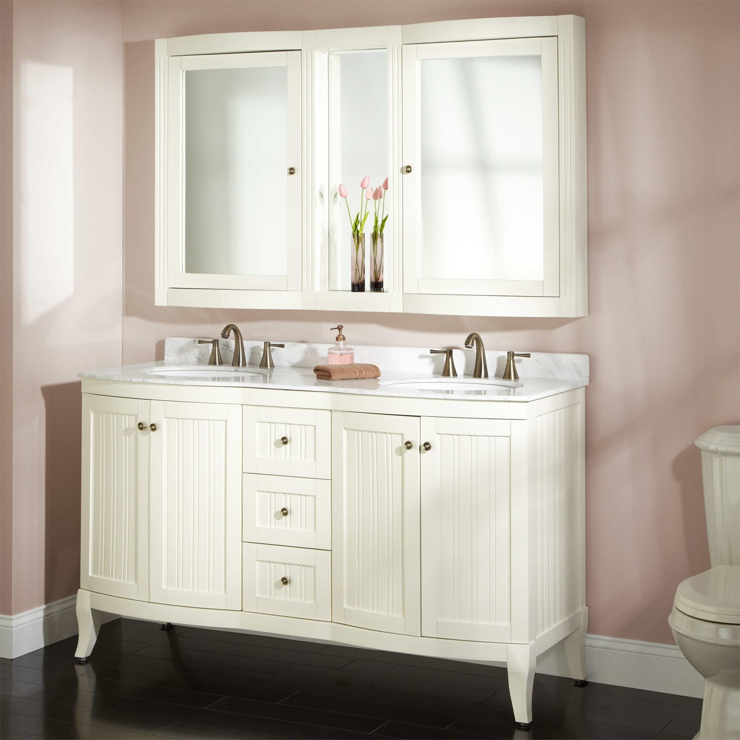 Bathroom Vanities With Medicine Cabinetsquot palmetto creamy white double vanity set bathroom vanities and