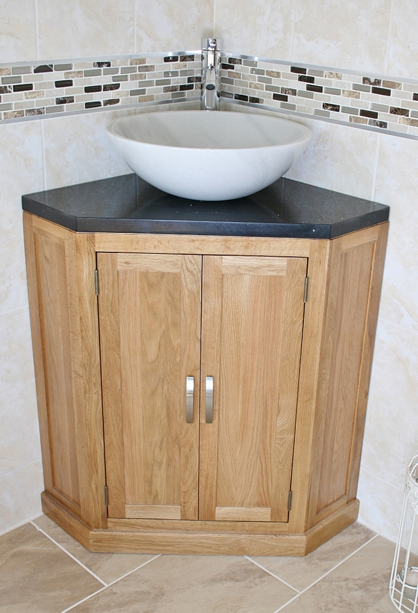 Corner Bathroom Vessel Sink Cabinet