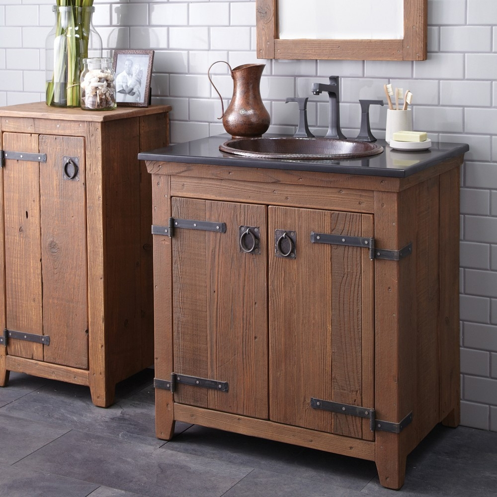 Permalink to Distressed Wood Bathroom Cabinets