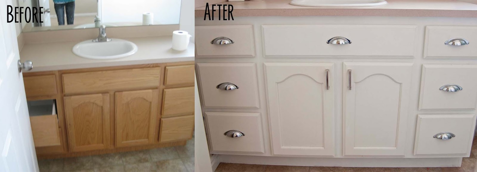 Diy Painting Bathroom Cabinets White