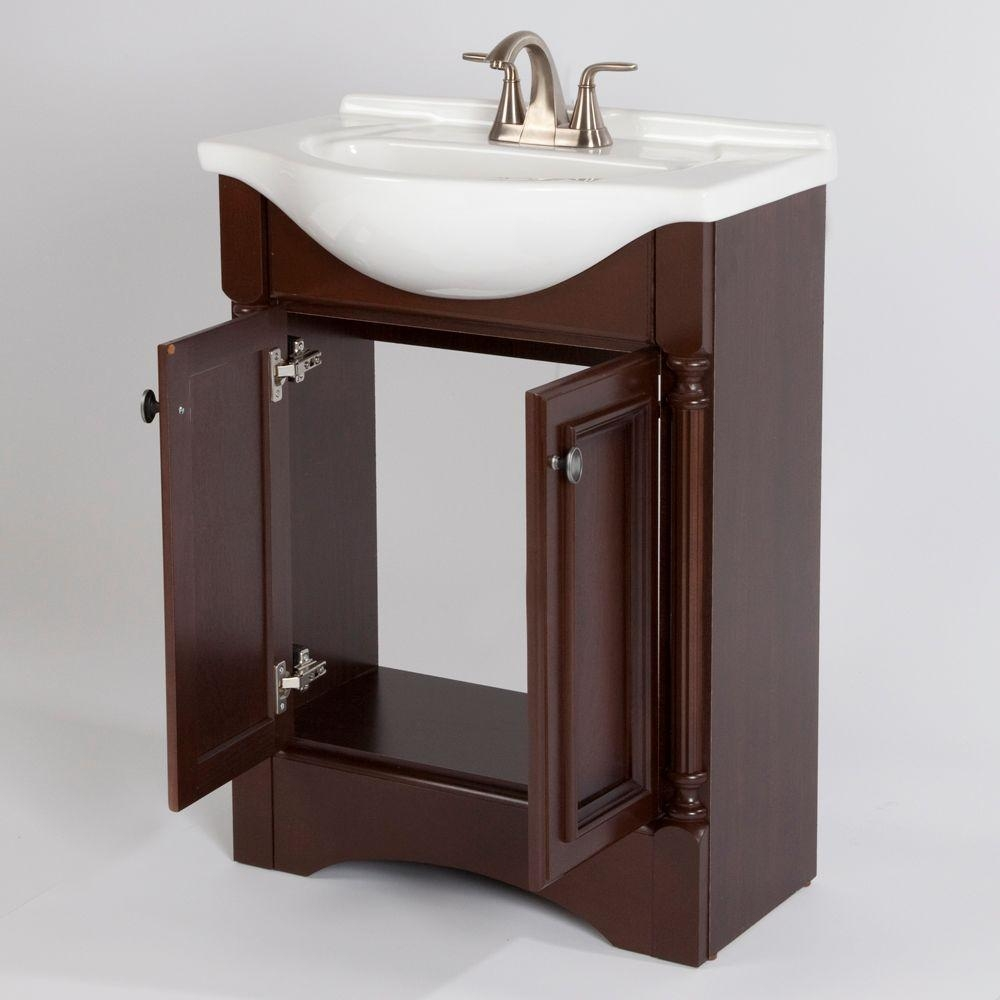 In Stock Bathroom Vanities Home Depotglacier bay valencia 25 in vanity in glazed hazelnut with
