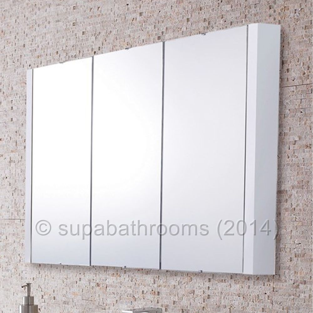 Permalink to Lux 900Mm Gloss White 3 Door Mirrored Bathroom Cabinet
