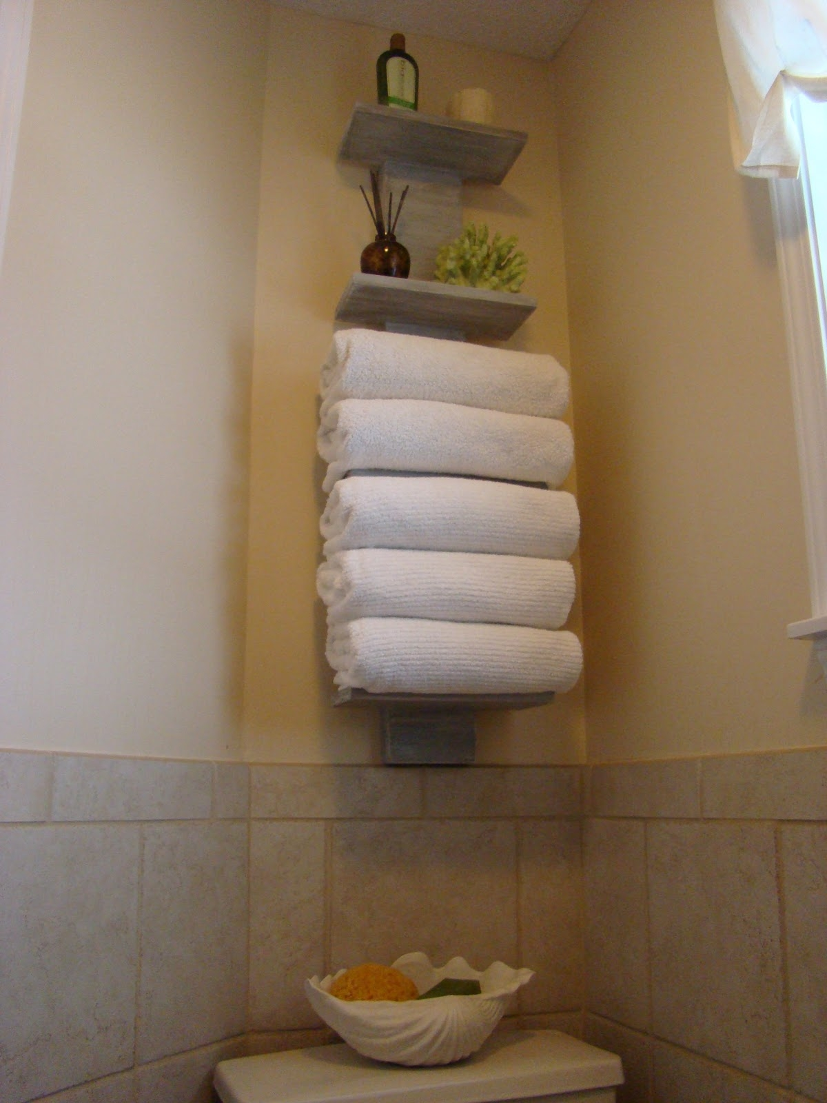 Narrow Bathroom Towel Storage