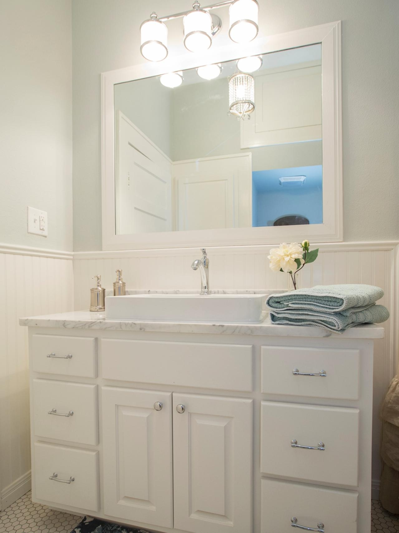 White Beadboard Bathroom Cabinets