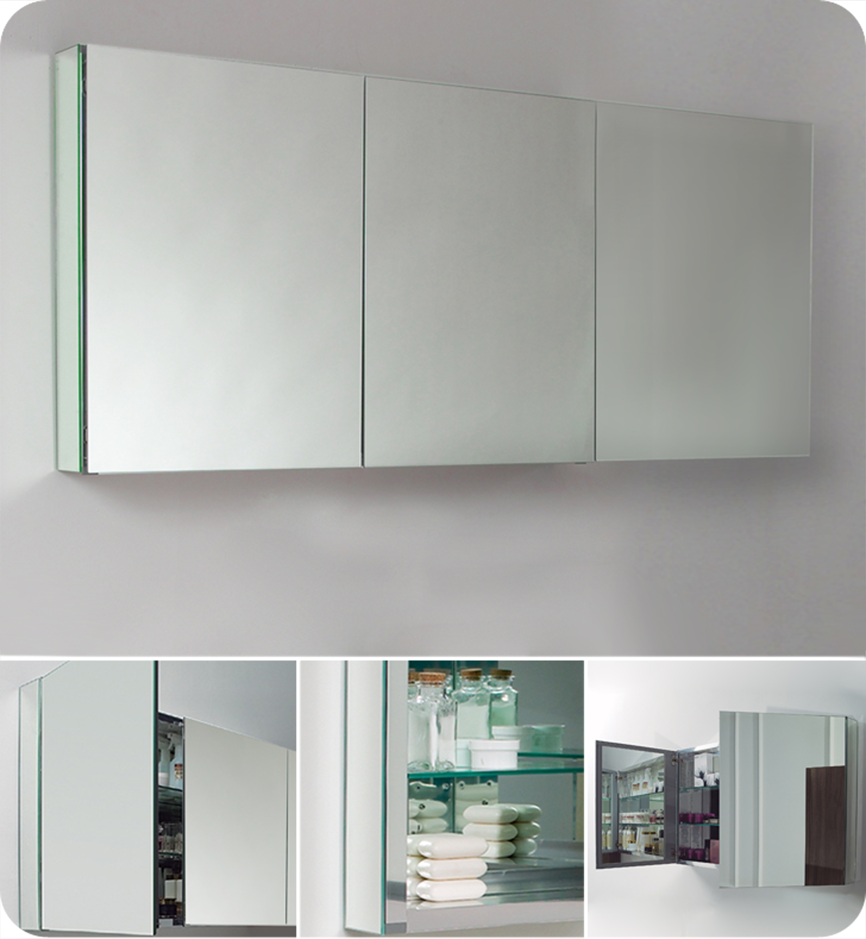 3 Door Bathroom Mirror Cabinets