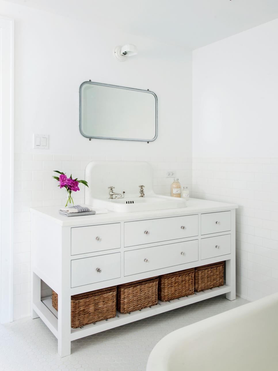 Bathroom Vanity With Basket Storage