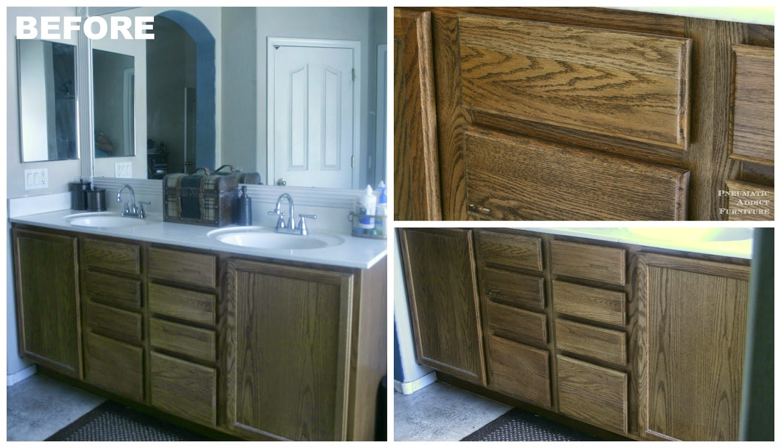 Restain Bathroom Cabinet Doorspneumatic addict darken cabinets without stripping the existing