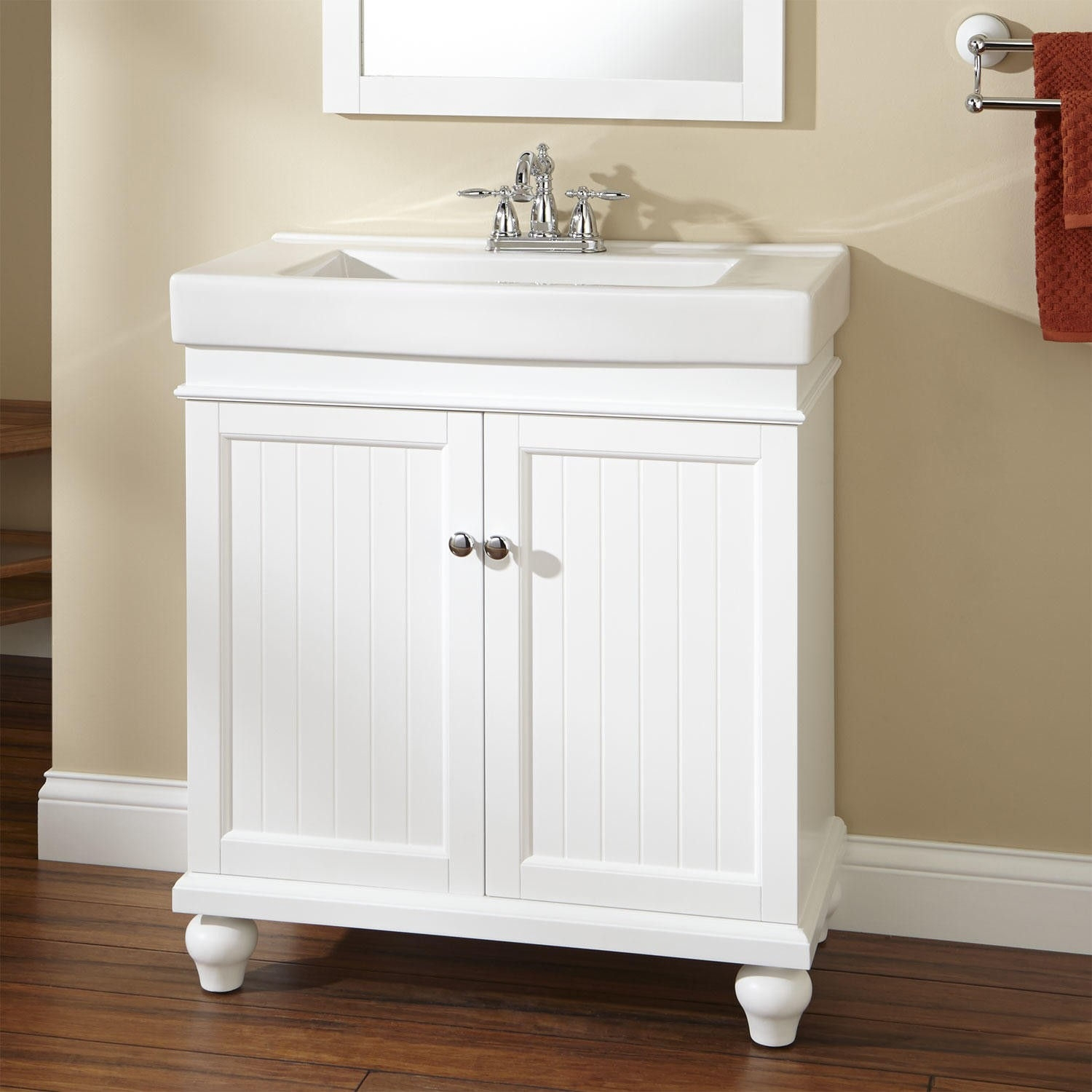 Shallow White Bathroom Cabinet