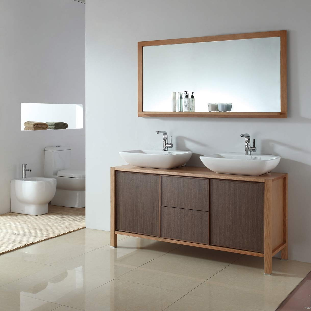 Solid Wood Bathroom Double Vanity
