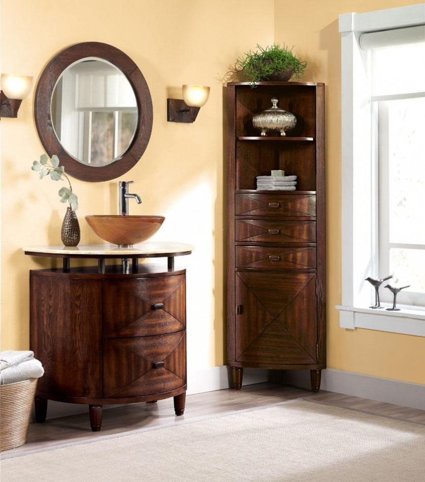 Tall Corner Bathroom Linen Cabinet