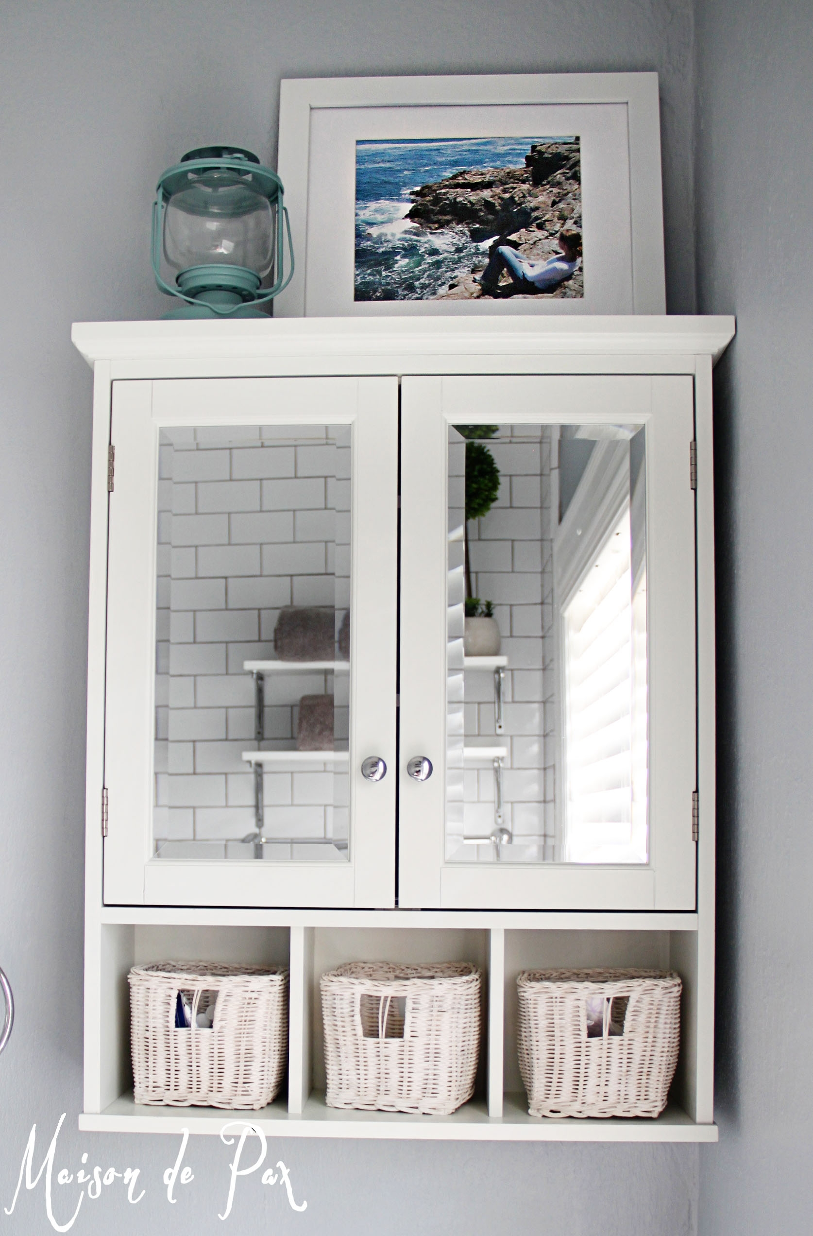 White Two Door Bathroom Wall Cabinet With Shelf & Mirror