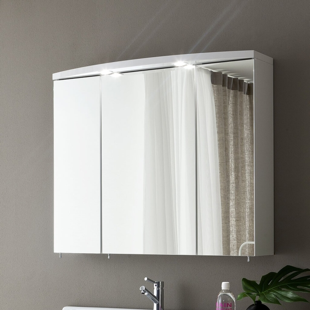 3 Door Mirrored Bathroom Cabinet With Lights
