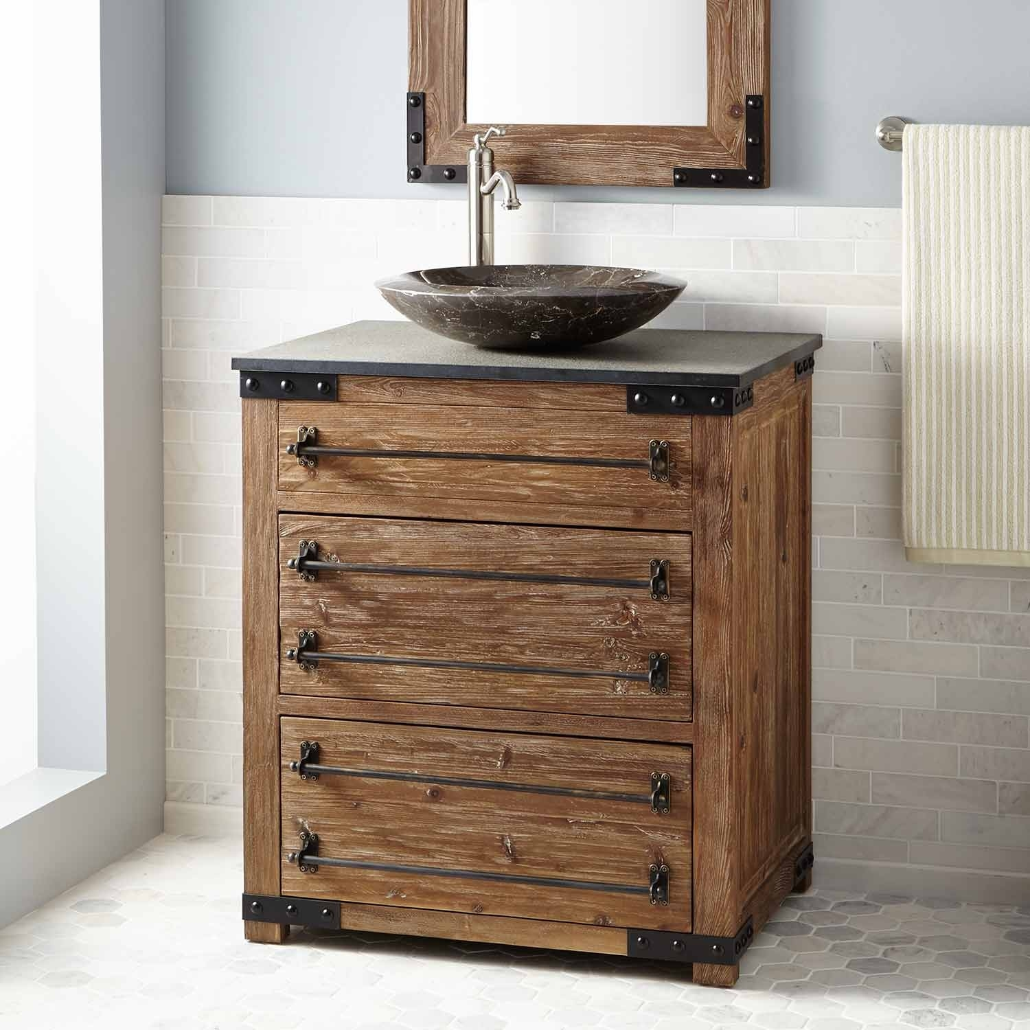 Antique Pine Bathroom Vanity Unit
