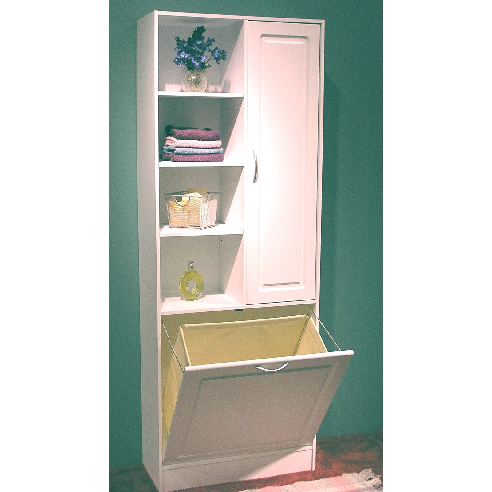 Bathroom Cabinet With Built In Laundry Basket