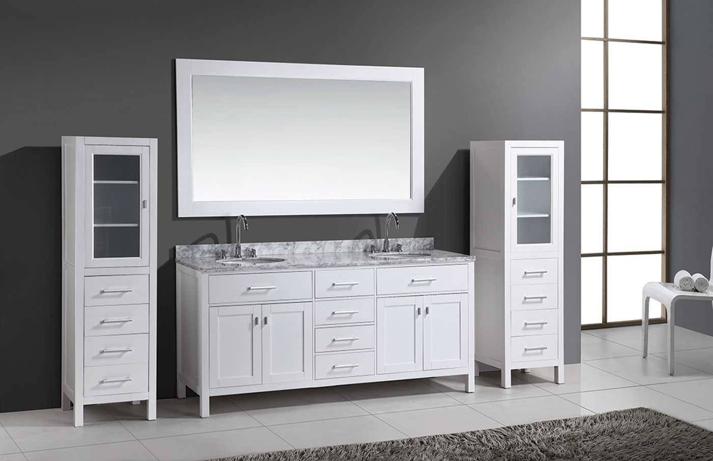 Bathroom Vanity And Linen Cabinet Set