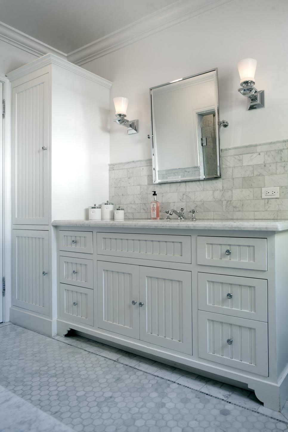 Beadboard Cabinets In Bathroom