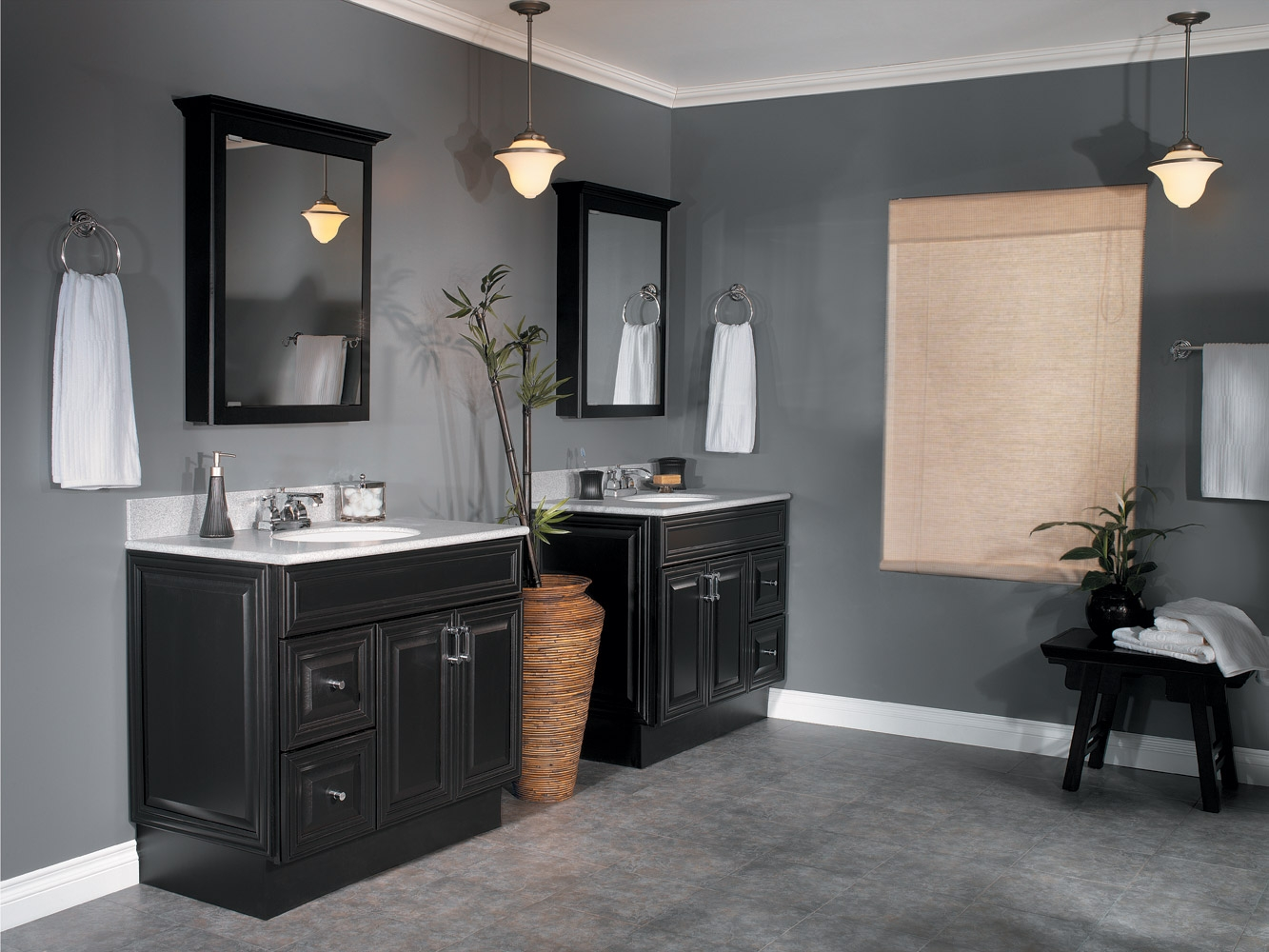 Black Cabinets In Small Bathroom