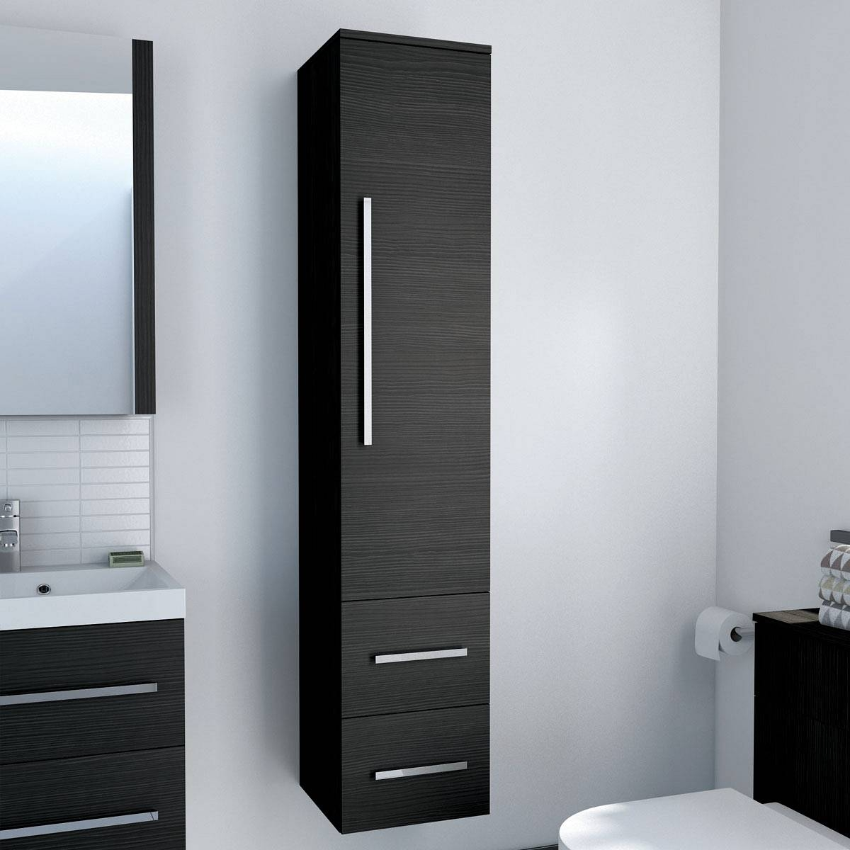 Black Gloss Mirrored Bathroom Cabinet