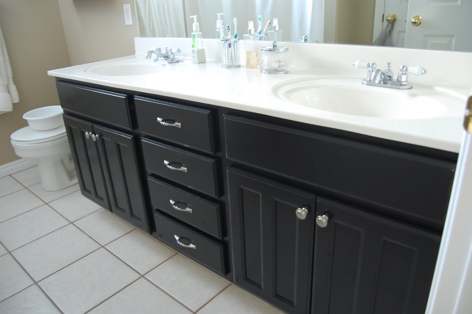 Black Painted Cabinets In Bathrooms