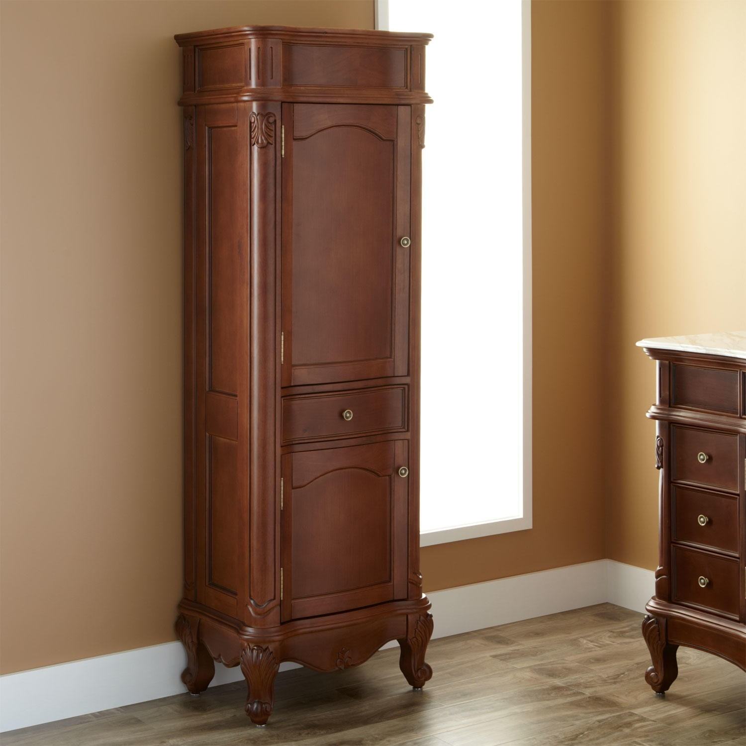 Dark Cherry Bathroom Storage Cabinet