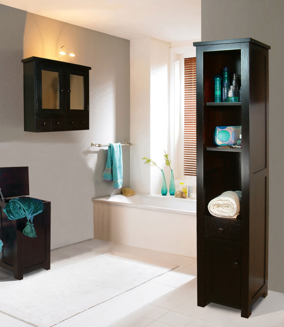 Dark Wood Bathroom Wall Cabinets