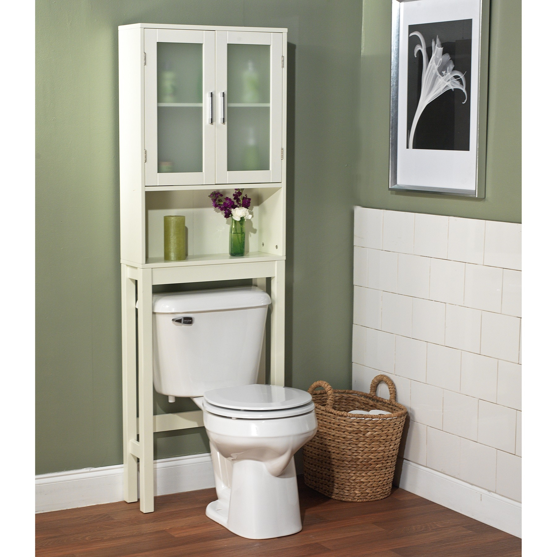 Free Standing White Wooden Bathroom Furniture