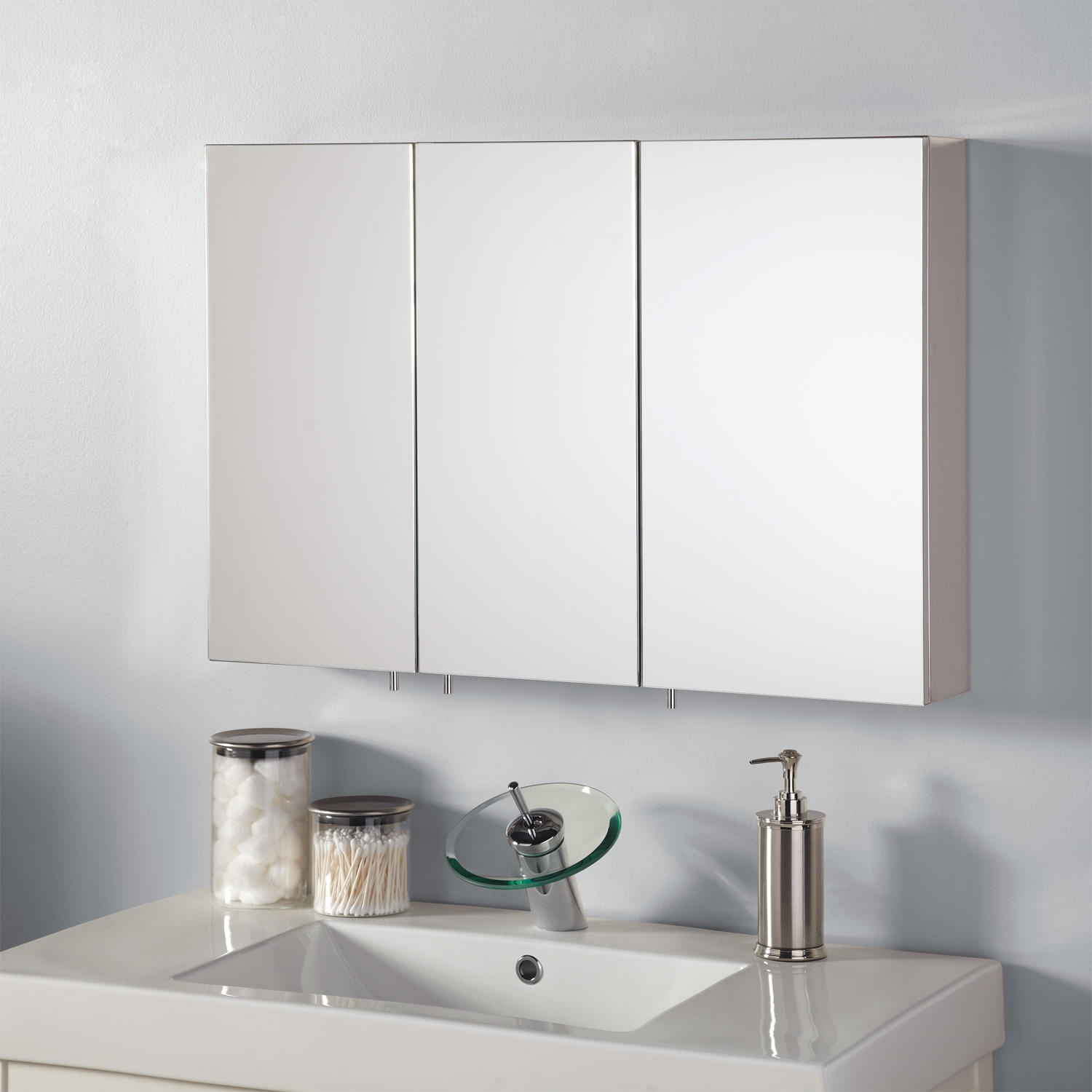Gedy Stainless Steel Bathroom Cabinet With Sliding Mirror Door