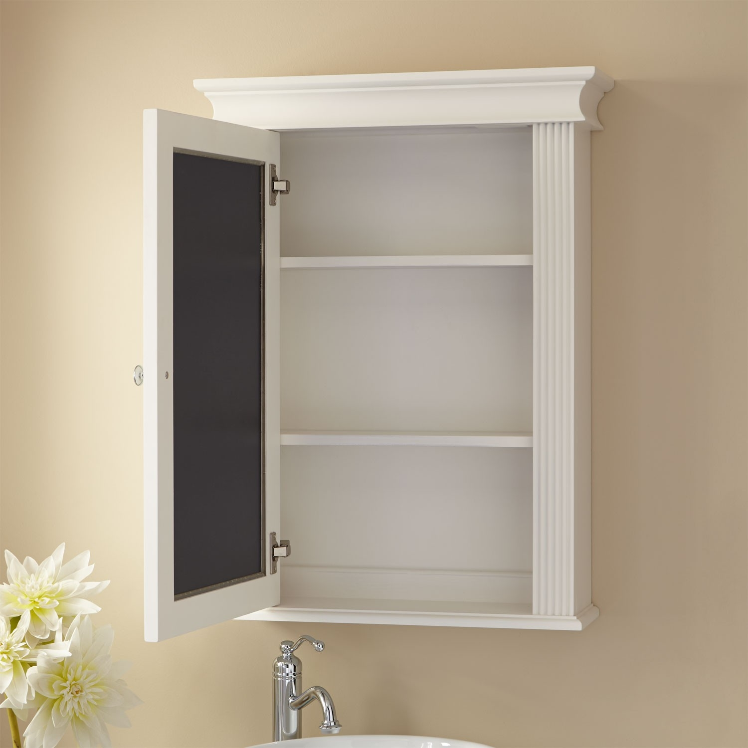 Large Wood 3 Door Bathroom Medicine Cabinet – White