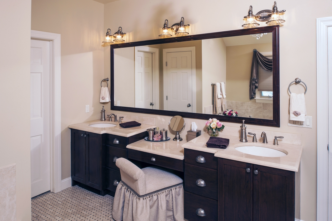 Master Bathroom Vanity With Makeup Area  Bathroom Cabinets Ideas