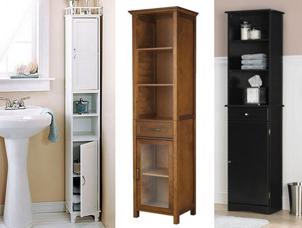 Narrow Bathroom Furniture Tower Cabinet In White
