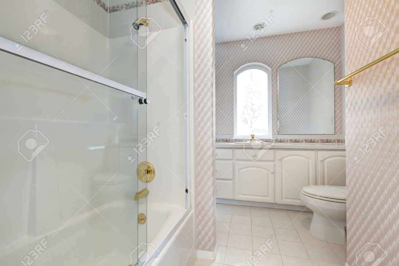 Pink Bathroom White Cabinets